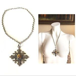 Antique Jerusalem Silver Cross Tigereye Necklace